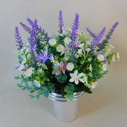 Artificial Flowers Filled Grave Pot Cottage Garden - AG043