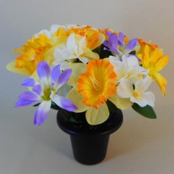 Artificial Flowers Grave Pot Daffodils and Daisies - AG064 BC