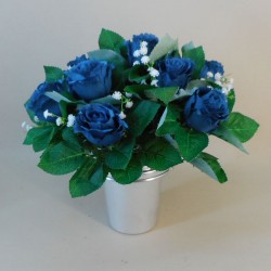 Artificial Flowers Filled Grave Pot Dark Blue Roses and Gypsophila - AG078