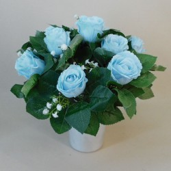 Artificial Flowers Filled Grave Pot Light Blue Roses and Gypsophila - AG077