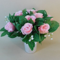 Artificial Flowers Filled Grave Pot Pale Pink Roses and Gypsophila - AG079