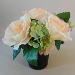 Artificial Flowers Filled Grave Pot Peach Roses - AG016 T1