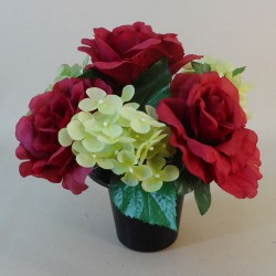 Artificial Flowers Filled Grave Pot Red Roses - AG011 T1
