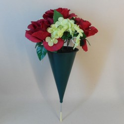 Artificial Flowers Filled Grave Pot Red Roses in Cone Vase - AG010