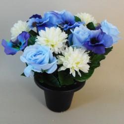Artificial Flowers Grave Pot Blue Roses - AG072 BC