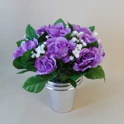 Artificial Flowers Filled Grave Pot Lavender Purple Roses and Gypsophila - AG074
