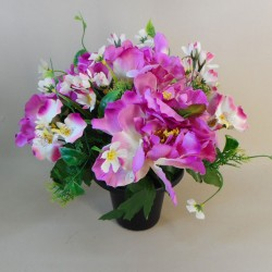 Artificial Flowers Filled Grave Pot Peonies and WIld Flower Magenta - AG027