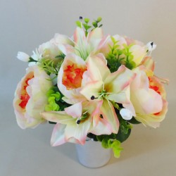 Artificial Flowers Filled Grave Pot Lilies and Peonies Peach - AG018