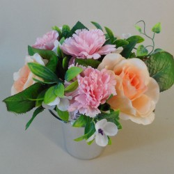 Silk Flowers Filled Grave Pot Pink and Peach - AG020