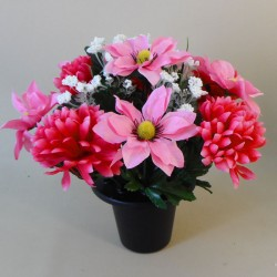 Artificial Flowers Grave Pot Pink Daisies and Chrysanthmums - AG065 BC