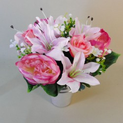 Artificial Flowers Filled Grave Pot Lilies, Peonies and Roses Pink - AG017