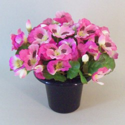 Artificial Flowers Filled Grave Pot Pink Pansies - AG050