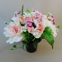 Artificial Flowers Filled Grave Pot Peonies and WIld Flower Pink - AG026