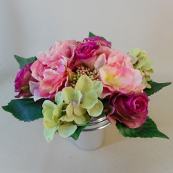 Artificial Flowers Filled Grave Pot Pink Roses - AG008