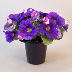 Artificial Flowers Filled Grave Pot Purple Pansies - AG047