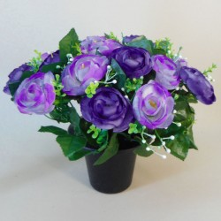 Artificial Flowers Filled Grave Pot Purple Ranunculus - AG028