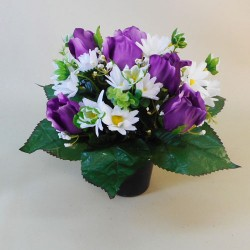 Artificial Flowers Grave Pot Purple Roses and Daisies - AG066