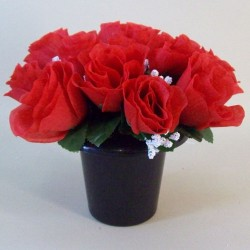 Artificial Flowers Filled Grave Pot Red Roses and Gypsophila - AG048 S4