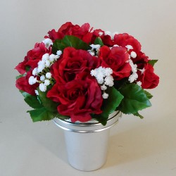 Artificial Flowers Filled Grave Pot Red Roses and Gypsophila - AG073