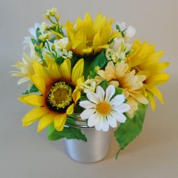 Artificial Flowers Filled Grave Pot Sunflowers and Daisies Small - AG019