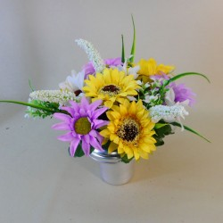 Artificial Flowers Filled Grave Pot Sunflowers and Daisies - AG012