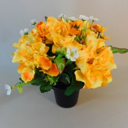Artificial Flowers Filled Grave Pot Peonies and WIld Flower Yellow - AG025