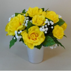 Artificial Flowers Filled Grave Pot Yellow Roses and Gypsophila - AG075