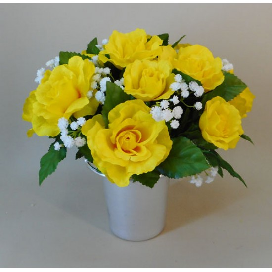 Artificial Flowers Filled Grave Pot Yellow Roses And Gypsophila Memorial Flowers
