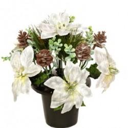 Christmas Velvet Poinsettia Grave Pot White - 14X036