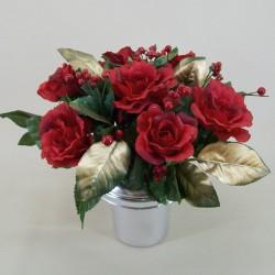Silk Flowers Filled Grave Pot Christmas Red Rose - AG014