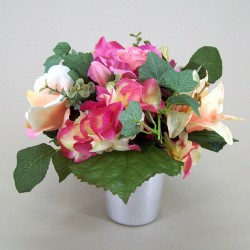 Silk Flowers Filled Grave Pot  Pink and Peach Rose and Berry - AG002