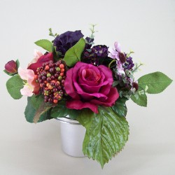 Silk Flowers Filled Grave Pot Wine Silk Rose and Berries - AG003