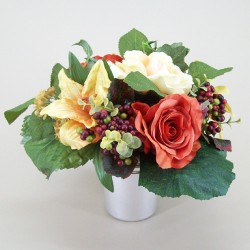 Silk Flowers Filled Grave Pot Terracotta Rose and Berries - AG001