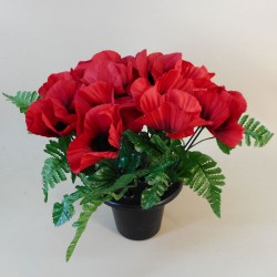 Poppies Filled Grave Pot Red - AG049 T1