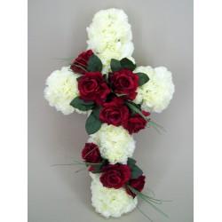 Silk Funeral Flowers Red Rose Cross - AF016