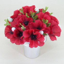 Silk Poppy Filled Grave Pot - AG022