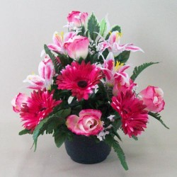 Silk Flowers Filled Grave Pot Pink Gerberas and Lilies (Freestanding) - AG035 BC