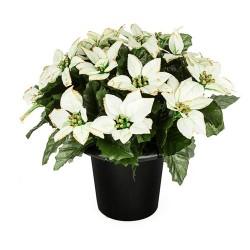 Silk Flowers Filled Grave Pot Cream and Gold Glitter Christmas Poinsettias - AG056