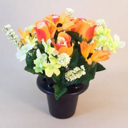 Silk Flowers Filled Grave Pot Orange Roses and Daisies - AG062 T3