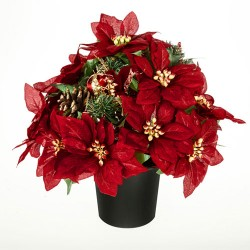 Silk Flowers Filled Grave Pot Red Christmas Poinsettias and Fir Cones - AG055