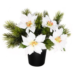 Silk Flowers Filled Grave Pot White Poinsettias and Spruce - AG057