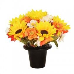 Artificial Flowers Filled Grave Pot Autumn Flowers - AG005 BC