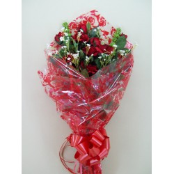 Silk Flower Gift Bouquet Red Roses - BOU002