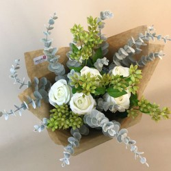 Classic Roses Faux Flowers Gift Bouquet White - ABV016