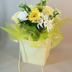 Artificial Flowers Bouquet Lemon Meringue (complete with Flower Vase) - ABV011