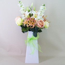 Luxury Lilies and Roses Silk Flowers Hand Tied Bouquet - ABV013