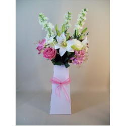 Silk Flowers Hand Tied Bouquet Pinks Luxury Lilies and Roses - ABV035