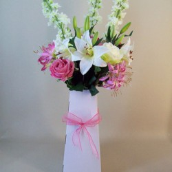 Luxury Lilies and Roses Silk Flowers Hand Tied Bouquet Pinks - ABV035
