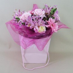 Artificial Flowers Bouquet Raspberry Delice (complete with Flower Vase) - ABV012