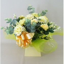 Silk Flowers Gift Bouquet - Sherbet Lemon - BBV015a